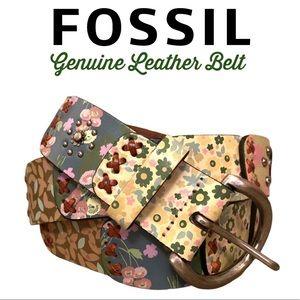 Fossil Floral Patchwork Leather Boho Belt EUC